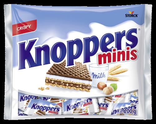 Knoppers minis - Oplatky plněné mléčným krémem (30,2 %) a nugátovým krémem (29,4 %)