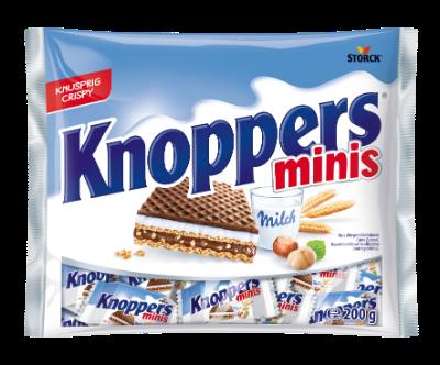 Knoppers 10 pieces - Oplatky plněné mléčným krémem (30,2 %) a nugátovým krémem (29,4 %)