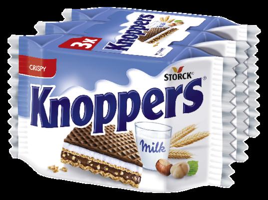 Knoppers 3-pack - Oplatky plněné mléčným krémem (30,4 %) a lískoořechovým krémem (29,4 %) s tmavou tukovou polevou (14,6 %)