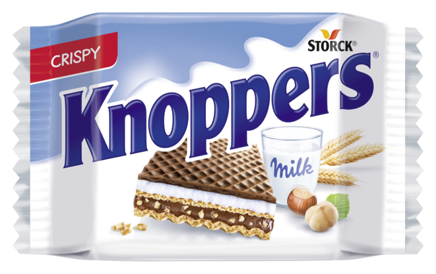 Knoppers - Oplatky plněné mléčným krémem (30,4 %) a lískoořechovým krémem (29,4 %) s tmavou tukovou polevou (14,6 %)