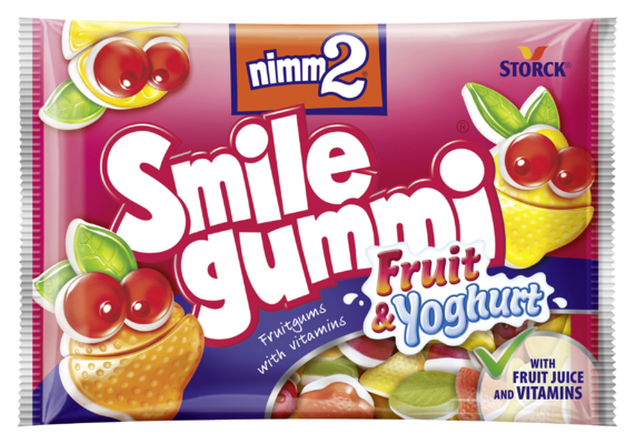 nimm2 Smilegummi ovocno-jogurtové - Ovocné želé s vitamíny a jogurtovou vrstvou z odstředěného mléka (40%)