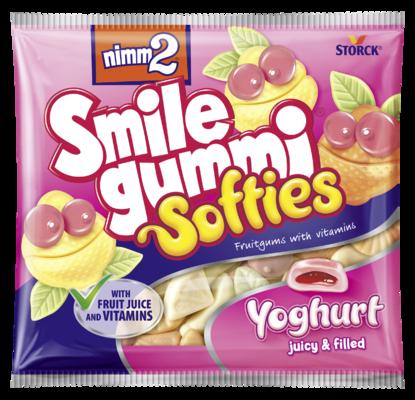 nimm2 Smilegummi Softies jogurtové - Měkké plněné ovocné želé s obsahem vitamínů a s jogurtem z odstředěného mléka