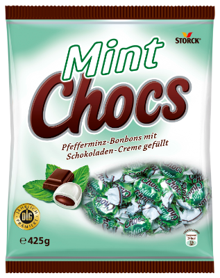 Mint Chocs - Furé s peprmintovou příchutí plněné krémovou náplní s kakaem (20%)