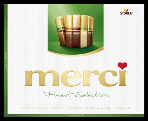 merci Finest Selection mandlová 250g - Kolekce čokoládových specialit s kousky mandlí (9,2%).