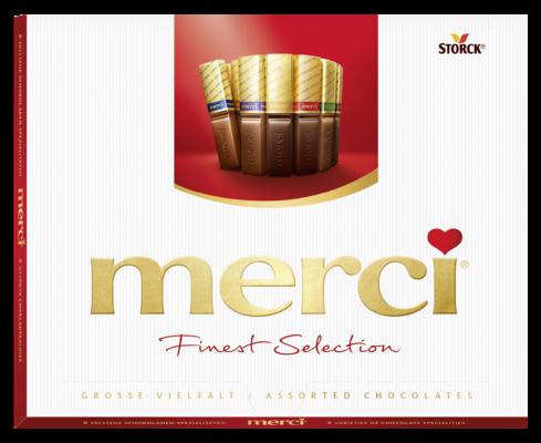 merci Finest Selection mix kolekce - Kolekce čokoládových specialit z hořké, mléčné a bílé čokolády.