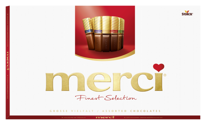 merci Finest Selection mix kolekce 400g - Kolekce čokoládových specialit z hořké, mléčné a bílé čokolády.