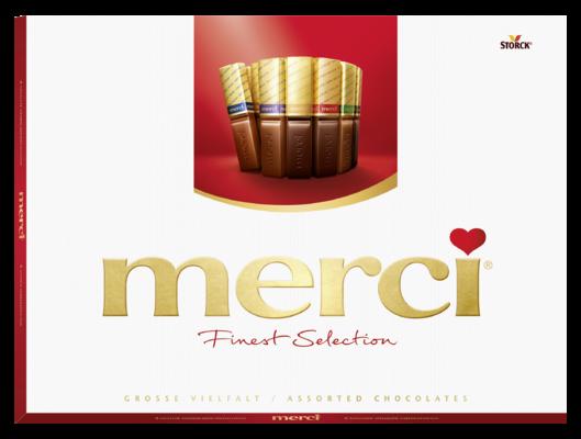 merci Finest Selection mix kolekce 675g - Kolekce čokoládových specialit z hořké, mléčné a bílé čokolády.