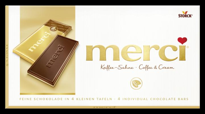 merci tabulková čokoláda kávová - Smetanová čokoláda (57 %) s kávovou příchutí na bílé čokoládě (43 %)/Jemná kávovo-smotanová čokoláda (57 %) na bielej čokoláde (43 %)