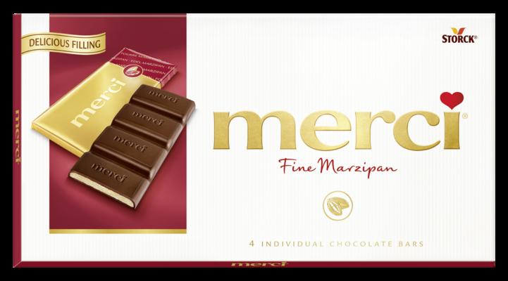 merci tabulková čokoláda marcipánová - Hořká čokoláda plněná marcipánovou náplní (38 %)/Jemná horká čokoláda s marcipánovou náplňou (38 %)
