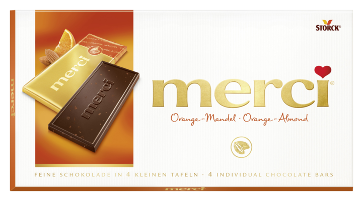 merci tabulková čokoláda pomeranč mandle - Hořká čokoláda s kousky mandlí (6 %) a koncentrovanou pomerančovou šťávou (2 %)/ Čokoláda s kúskami mandlí (6%) a pomarančovým koncentrátom (2%)