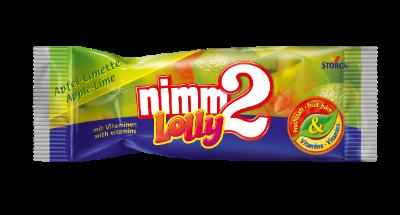 nimm2 Lolly jablko-limetka - Drops s příchutí jablka a limetky s vitaminy.