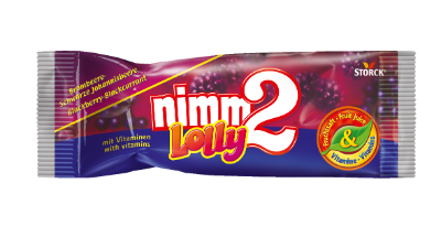nimm2 Lolly ostružiny-černý rybíz - Drops s příchutí černého rybízu a ostružin s vitaminy.