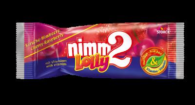 nimm2 Lolly - višně-malina - Drops s višňovou a malinovou příchutí s vitaminy.