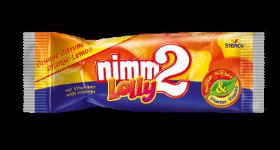 nimm2 Lolly pomeranč-citrón - Drops s pomerančovou a citrónovou příchutí s vitaminy.
