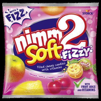 nimm2 soft Fizzy - Ovocné žvýkací bonbóny s vitaminy a šumivou náplní (15%) - cukrovinka