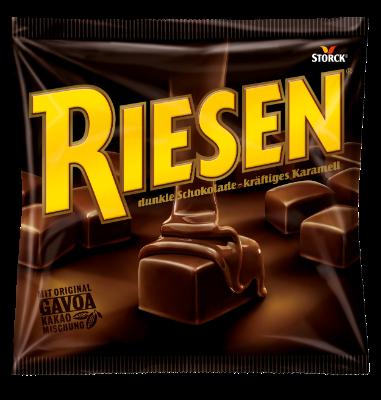 Riesen - Kakaové karamely v hořké čokoládě (30 %). Obsah kakaové sušiny v čokoládě nejméně 43 %.