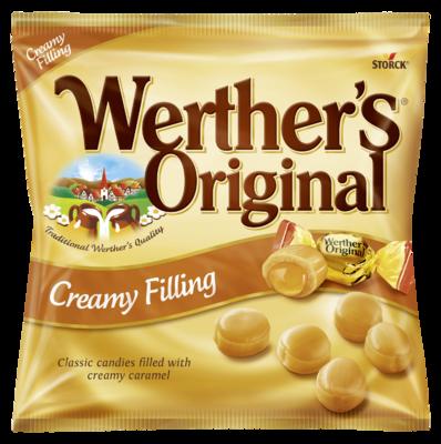 Werther's Original Creamy Filling - Bonbony se smetanou a s karamelovo-krémovou náplní (24 %)/ Smotanové karamelky s karamelovou náplňou (24 %).