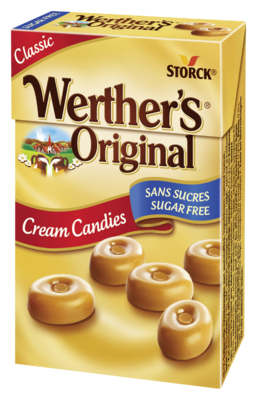 Werther's Original Minis sugar free - Bonbóny se smetanou, cukrovinka. Se sladidly. Bez cukrů.