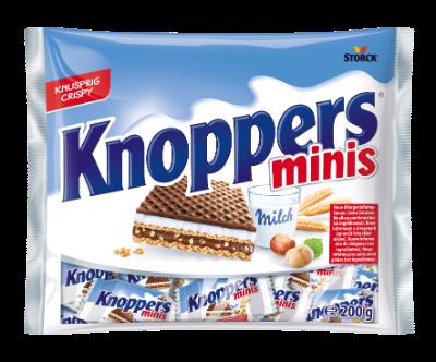 Knoppers minis - Fyldt vaffelsnitte (Mælkecremefyld 30,2%, nougatcremefyld 29,4%)