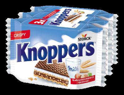 Knoppers 3 pieces - Fyldt vaffelsnitte (mælkecremefyld 30,2%, nougatcremefyld 29,4%)