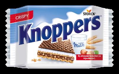 Knoppers - Fyldt vaffelsnitte (Mælkecremefyld 30,4 %, nougatcremefyld 29,4 %)