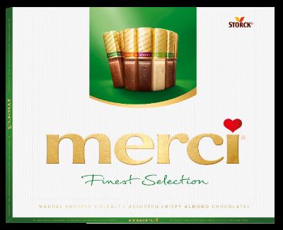 merci Finest Selection mandel og crisp 250g - Chokoladespecialiteter med mandel (9,2%) og crisp.