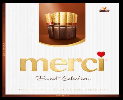merci Finest Selection 250g mørk chokolade - Fyldte og ikke fyldte chokoladespecialiteter.