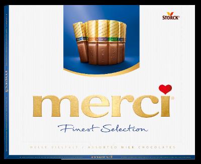 merci Finest Selection 250g mælkechokolade - Fyldte og ikke fyldte chokoladespecialiteter.