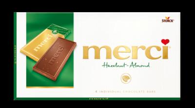 merci Tablets Hazelnut-Almond - Mjölkchoklad/Mælkechokolade med bitar/stykker av hasselnötter/hasselnødder och mandel