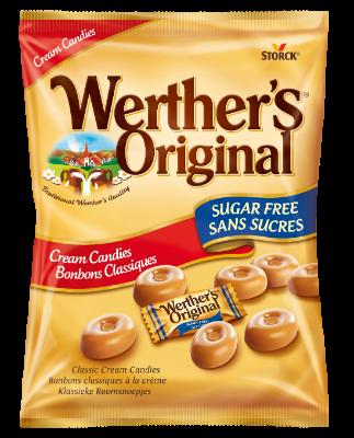 Werther's Original Sugar Free Cream Candies - Sukkerfrie flødebolsjer. Indeholder sødestoffer