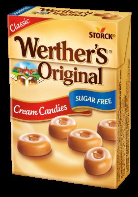 Werther's Original Sugar Free Cream Candies box - Sukkerfrie flødebolsjer. Indeholder sødestoffer