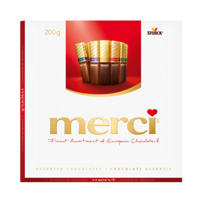 merci Assorted Variety 200g - Filled and unfilled chocolate specialities.