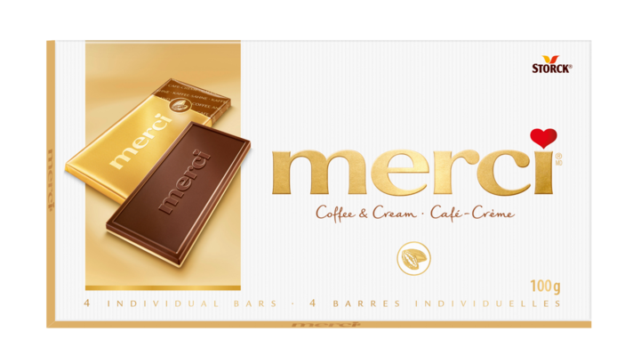 merci Tablets Coffee & Cream - Coffee & Cream: Rich, coffee flavoured dark milk chocolate, atop a white chocolate base.
