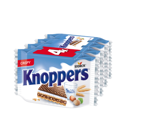 Knoppers 4 pieces - Filled wafers (milk cream filling 30.2%, hazelnut cream filling 29.4%)