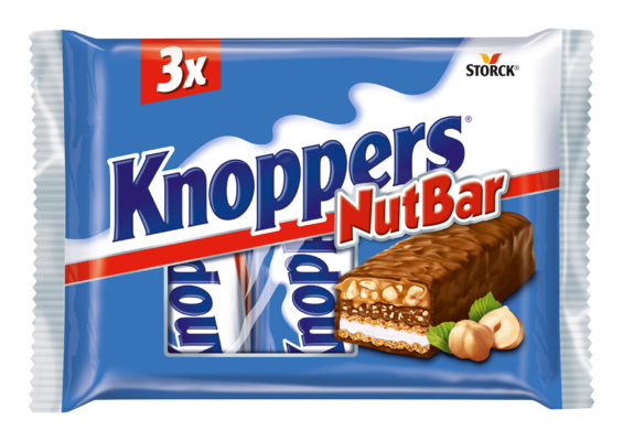 Knoppers NutBar 3 pieces - Milk chocolate (29.5%) with layers of wafer, smooth caramel (22.2%), milk creme (14.4%), soft nougat (14%) and chopped hazelnuts (13.4%)