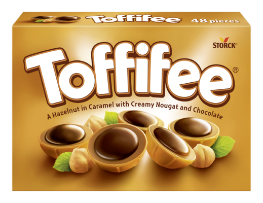 Toffifee 48 pieces - A Hazelnut (10%) in a Caramel Cup (41%) with Hazelnut Chocolate Filling (37%) topped with Chocolate (12%)