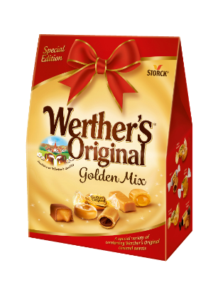 Werther's Original Golden Mix - An assortment of filled and unfilled caramel sweets and fudge.