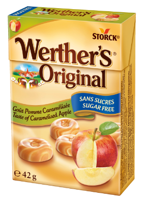 Werther's Original Sugar Free Caramel Apple Flip Top Box - Sugar free butter candies with apple flavour and sweeteners