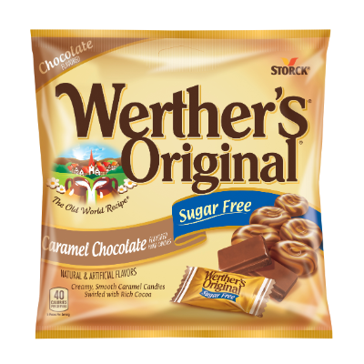 Werther's Original Caramel Chocolate Flavored Hard Candies Sugar Free -