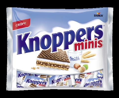 Knoppers minis - Gevulde wafel (melkcrèmevulling 30,2%, hazelnootcrèmevulling 29,4%)