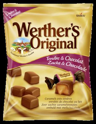 Werther's Original Zacht & Chocolade - Zeer zachte karamelsnoepjes omhuld met melkchocolade (30%)
