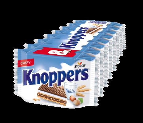 Knoppers 8 stuks - Gevulde wafel (melkcrèmevulling 30,4%, hazelnootcrèmevulling 29,4%).