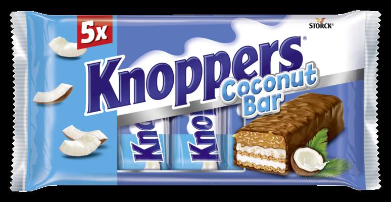 Knoppers NutBar Cocos 5 pieces - Reep met wafel, melkcrème (14,4%), kokoscrème verfijnd met hazelnoten (17%), geraspte kokos (6,5%) en zachte karamel (26,1%), omhuld met volle melkchocolade (29,5%)
