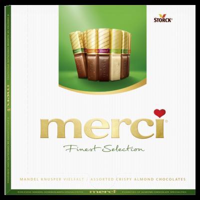 merci Finest Selection Amandel 200g - Chocoladespecialiteiten met krokante amandelstukjes (9,2%).