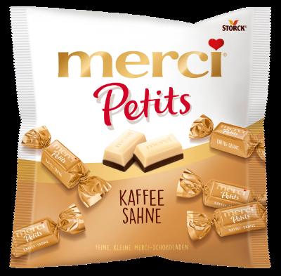 merci Petits Coffee & Cream - Witte chocolade (43%) op mokka-roommelkchocolade (57%)