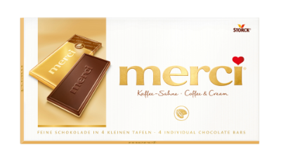 merci tablet Coffee & Cream - Mokka-roommelkchocolade (55%) op witte chocolade (45%)