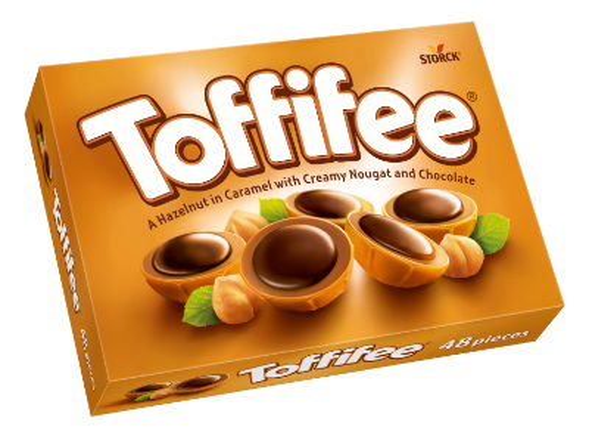 Toffifee 48 stuks - Hele hazelnoot (10 %) in caramel (41 %) met pralinécrème (37 %) en chocolade (12 %).
