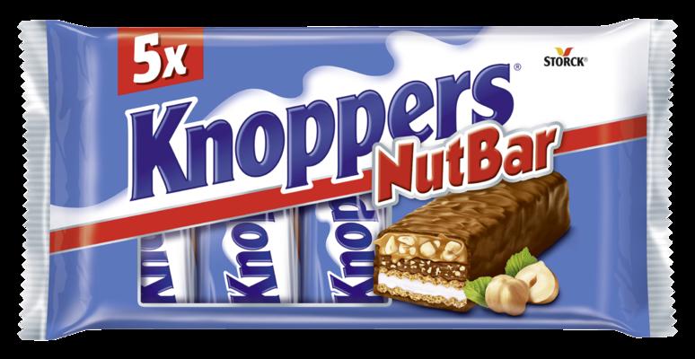Knoppers NutBar 5 pieces - Barre avec gaufrette, crème de lait (14,4%), crème de noisettes (14%), noisettes hachées (13,4%) et du caramel (22,2%), enrobé de chocolat au lait entier (29,5%)