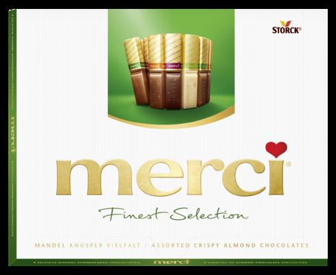 merci Finest Selection crispy 250g - Spécialités de chocolat avec éclats d'amandes croustillants (9,2%).