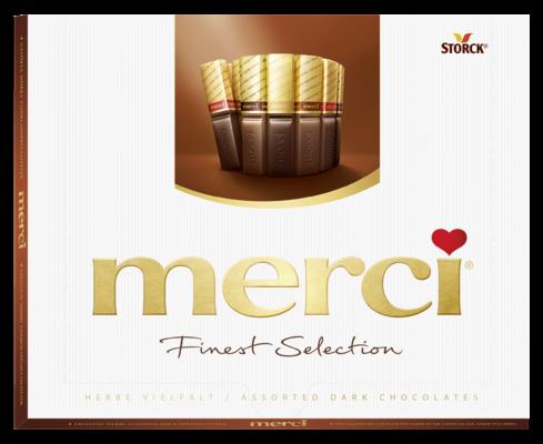 merci Finest Selection amer 250g - Spécialités de chocolat corsé fourrés et non-fourrés.